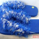 Shoes Flip Flops Slippers Blue White Yarn Glittery 9 1/2 inch Size M New Soft .f