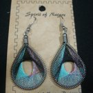 Earrings Aqua Black Metallic Thread Spirit Nature Peru Natives Silver New #64.f