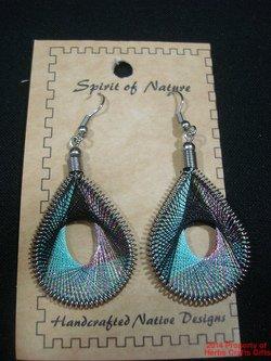 Earrings Aqua Black Metallic Thread Spirit Nature Peru Natives Silver New #64.f