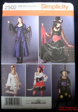 Witch Gypsy Goth Pirate Costume Pattern Simplicity 2502 Uncut US Misses 8-16 .f