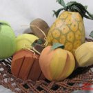 7 Veggies Fruit Carved Wood Pineapple Peach Apples Potato Pumpkin Basket #f