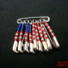 American Flag Pin Safety Pins Seed Beads Handmade USA .f