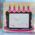 Birthday Cake Frame & Candles Rubber Stamp Large Posh Impressions #z794g 1997 .f