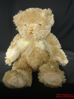 Teddy Bear 15 inch Kellytoy Gold Thread Nose Ribbon Tan Large Soft Plush .s