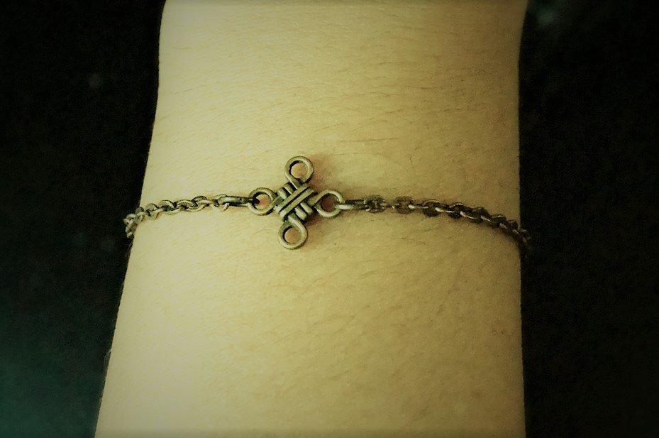 Retro Celtic Infinity Knot Brass Chain Bracelet/Anklet Bohemian Brass Minimalist for men/women