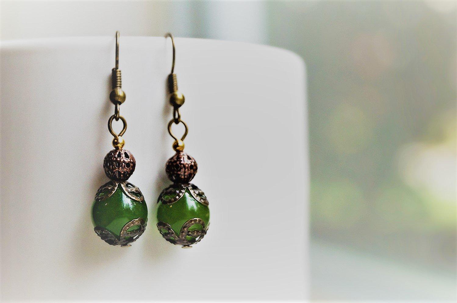 Dangle Green Jade Antiqued Brass Earrings