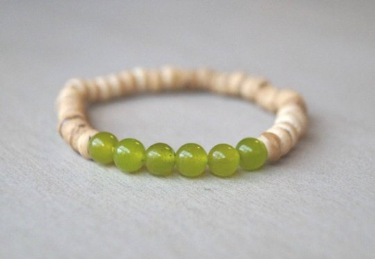 Lime Green Jade Wood Beads Bracelet - Men/Women Bohemian