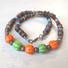 Handcrafted Fancy Pumpkin Shape Orange Green Howlite Turquoise Bone Beads Wood Beads Necklace