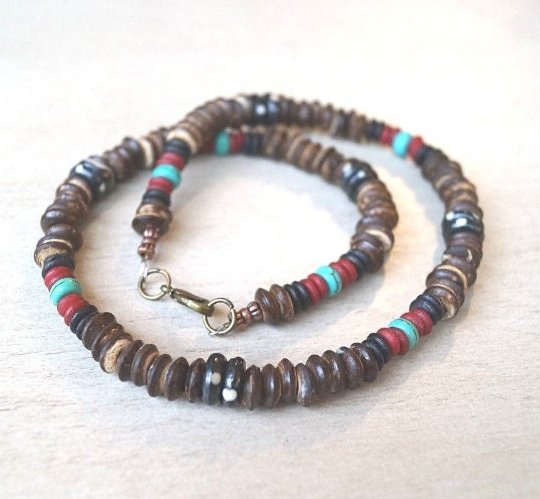 Handcrafted Turquoise Howlite Bone Beads Wood Beads Necklace