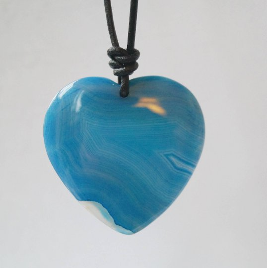 Blue Heart Agate on leather cord, men heart cabochon pendant, Agate on Leather Cord Necklace