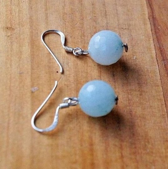 10 mm. Faceted Amazonite Sterling Silver 925 Earrings
