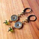 Handmade Natural Green Jade Peridot Crystal dangle Design Genuine Brass Lever Back Earrings
