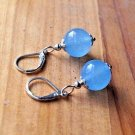 12mm Natural Aqua Blue Chalcedony Jade Genuine Sterling Silver 925 Lever Back Earrings