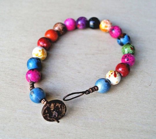 Handcrafted Fancy Colorful Acrylic Beads Copper Tone Beads Bracelet