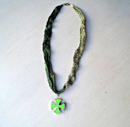 Pastel Green Iron Cross Ombre Green Necklace Choker Bohemian Unique