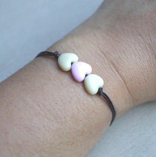 Bracelet/Anklet Handmade Pastel Triple Heart Acrylic Beads