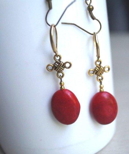 Handmade Golden Celtic Red Howlite dangle Design Genuine Brass Lever Back Earrings