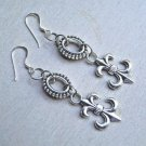 Beautiful Fleur de Lis Dangle Sterling Silver Long Earrings