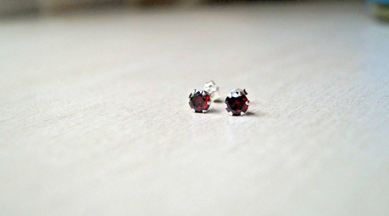 6mm High Quality Grade AAA Red Garnet CZ Sterling Silver 925 Stud Earrings