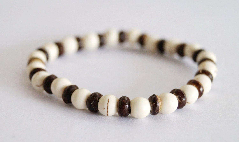 Stylish White Turquoise Howlite Coconut Wood Stretch Stacking Friendship Bracelet
