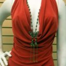 Halter Top with attached butterfly necklace XL