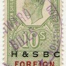 (I.B) George VI Revenue : Foreign Bill 10/- (H&SBC pre-cancel)