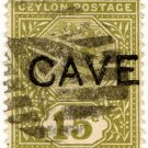 (I.B) Ceylon Postal : 15c Cave Pre-Cancel
