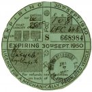 (I.B) GB Revenue : Car Tax Disc (Royal Enfield Motorcycle 1950)