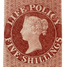 (I.B) QV Revenue : Life Policy 5/- (1860) inverted watermarks