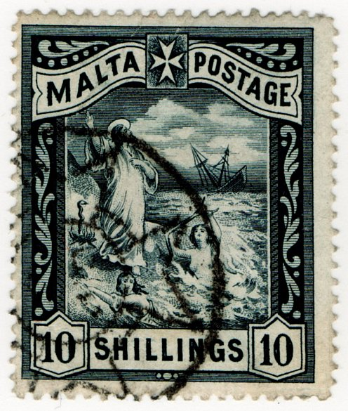 (I.B) Malta Revenue : Duty Stamp 10/-