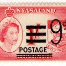 (I.B) Nyasaland Revenue : Duty 9d on 1/- (postal overprint)