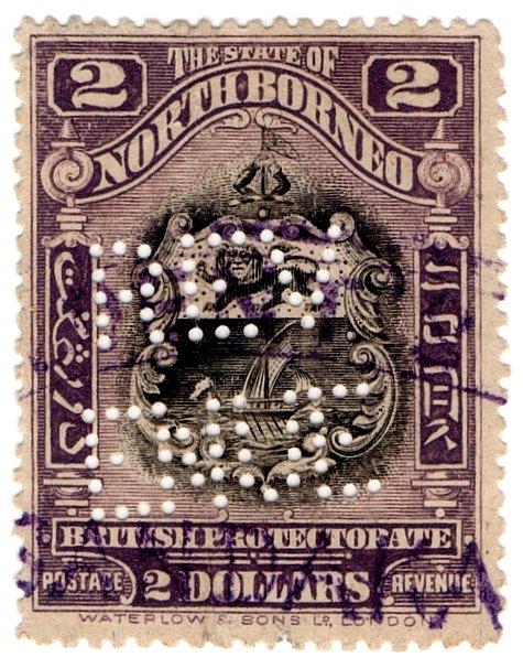 (I.B) North Borneo Revenue : Duty Stamp $2 (perfin)
