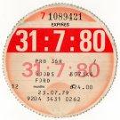 (I.B) GB Revenue : Car Tax Disc (Ford Goods 1980)