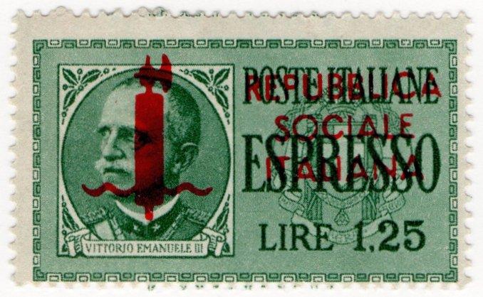 (I.B) Italy Postal : Express Delivery 1.25L (Republican overprint)