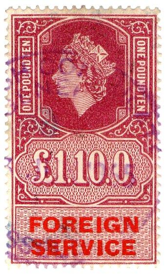 (I.B) Elizabeth II Revenue : Foreign Service £1 10/-