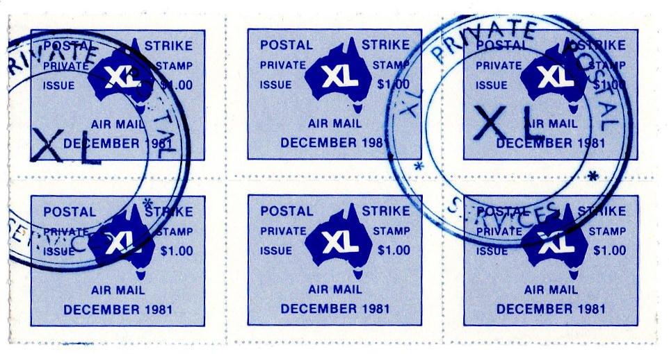 (I.B) Australia Postal : XL Strike Mail $6 (1981)