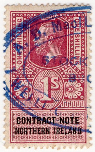 (I.B) George V Revenue : Contract Note (Northern Ireland) 1/-