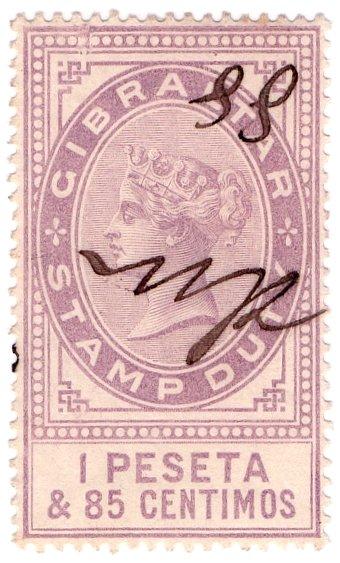 (I.B) Gibraltar Revenue : Duty Stamp 1P 85c