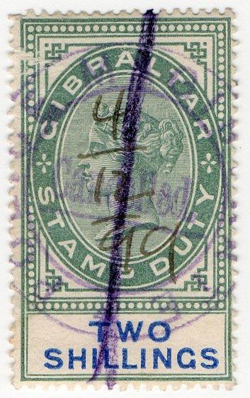 (I.B) Gibraltar Revenue : Duty Stamp 2/-