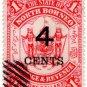 (I.B) British North Borneo Postal : State 4c on $1 OP
