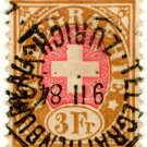 (I.B) Switzerland Telegraphs : 3Fr Brown & Pink (1881)