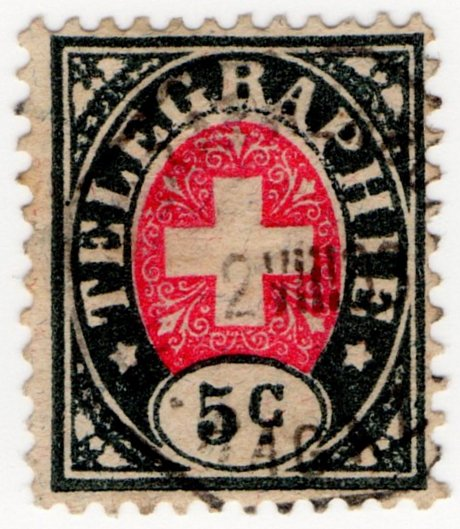 (I.B) Switzerland Telegraphs : 5c Black & Pink (1881)