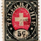 (I.B) Switzerland Telegraphs : 5c Black & Pink (1881)
