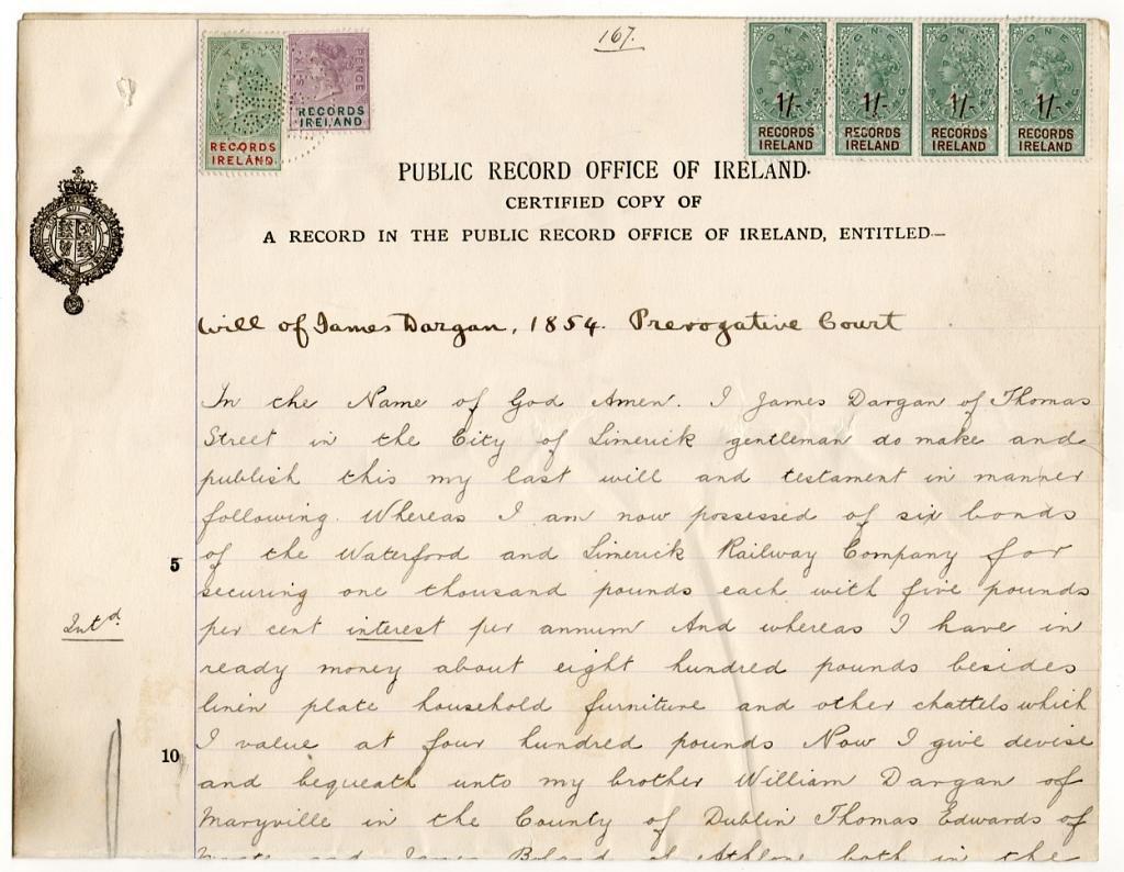 (I.B) QV Revenue : Ireland Record of Titles 14/6d (complete document)