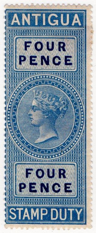 (I.B) Antigua Revenue : Duty Stamp 4d