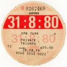 (I.B) GB Revenue : Car Tax Disc (Triumph 1980)