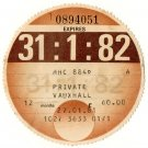 (I.B) GB Revenue : Car Tax Disc (Vauxhall 1982)