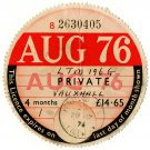 (I.B) GB Revenue : Car Tax Disc (Vauxhall 1976)