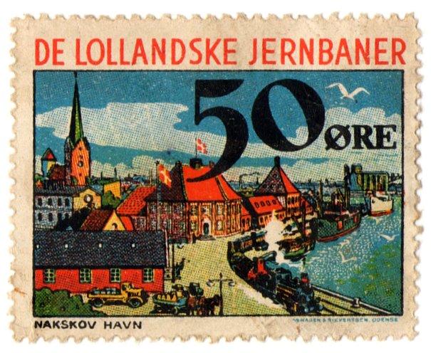 (I.B) Denmark Railway : De Lollandske Jernbaner 50 �re