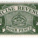 (I.B) Excise Revenue : 4d Grey-Green (1934)